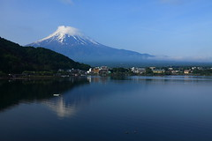 Mount Fuji and Lake Kawaguchi ( Spice (^_^)) Tags: travel sky mountain lake snow art water japan clouds reflections landscape geotagged photography volcano photo asia flickr colours image picture mountfuji  fujisan      mtfuji  kawaguchiko fujiyama waterscape   lakekawaguchi greatsho