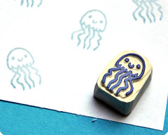Jellyfish hand carved rubber stamp