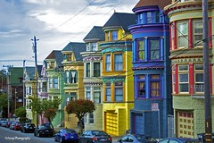 Hippie Colored Houses on Haight Street (navneetkaur02) Tags: california houses hippies san francisco colorful haight historical monuments