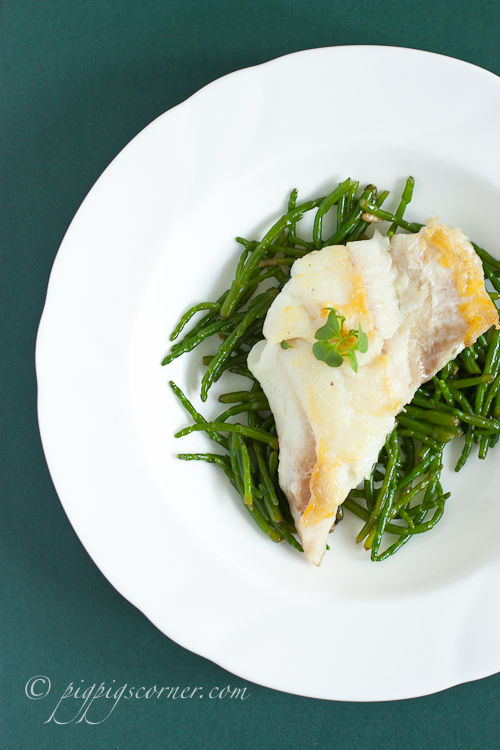 Samphire with lemon and butter sauce, haddock
