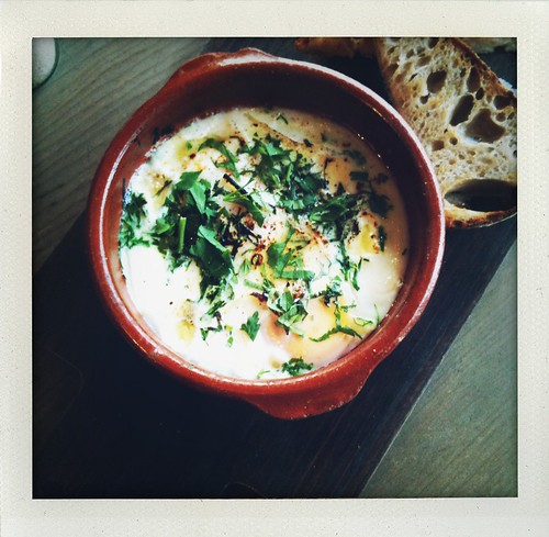 baked taleggio eggs pigeon hole cafe, hobart