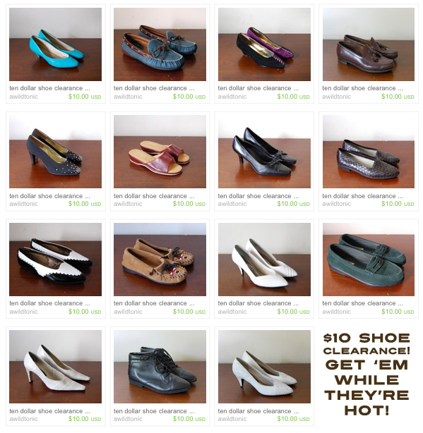 Ten Dollar Shoe Clearance Sale!