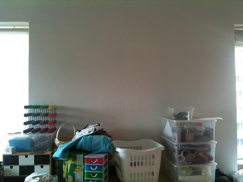This empty wall will get a huge magnetic whiteboard soon :-D