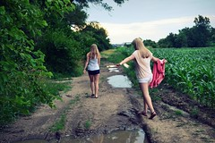 paths less traveled (*sheridanlee) Tags: pink trees girls sky water beautiful field clouds puddle corn mud cloudy adventure dirt blonde kelsey ashton simple walkin tiptoes