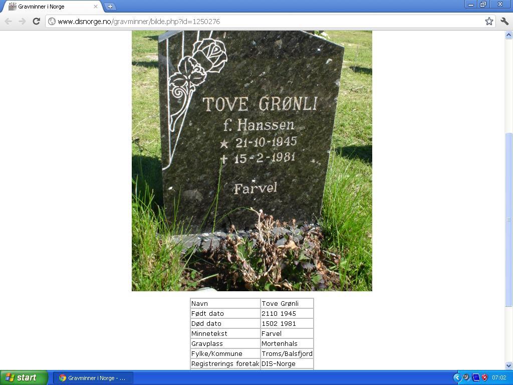 tove grønli gravsten