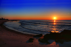 Keeping Faith (Moniza*) Tags: ocean sunset sea sky sun seascape beach nature water silhouette clouds sunrise landscape dawn newjersey twilight sand nikon rocks waves dusk nj rocky shore jersey bluehour jerseyshore oceangrove d90 moniza photographerschoice~halloffame