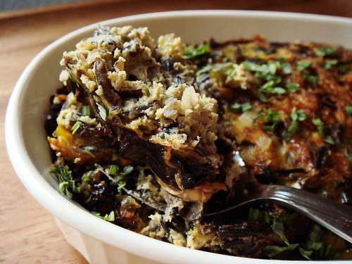 Wild Rice Casserole with Portobello, Garlic Scape, Ricotta