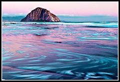 Morro Rock (PatrickJamesPhoto) Tags: ocean california longexposure pink sunset mountains beach nature water flow coast colorful outdoor shoreline morrobay centralcoast slo morrorock sanluisobispo seafoam pentaxk10d
