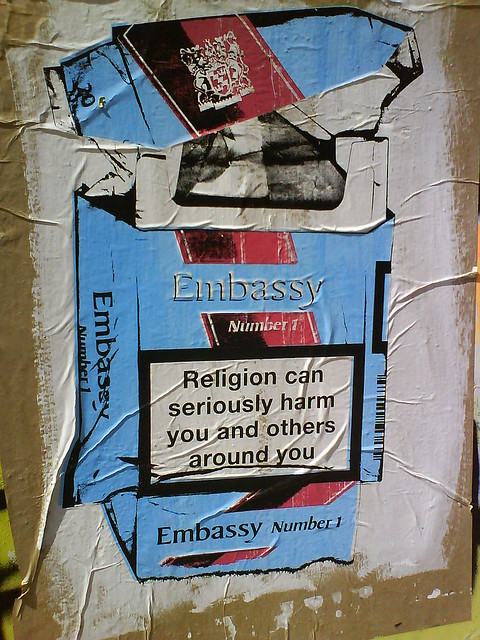Religion can seriously harm you and those around you - Embassy cigarettes - London Street Art