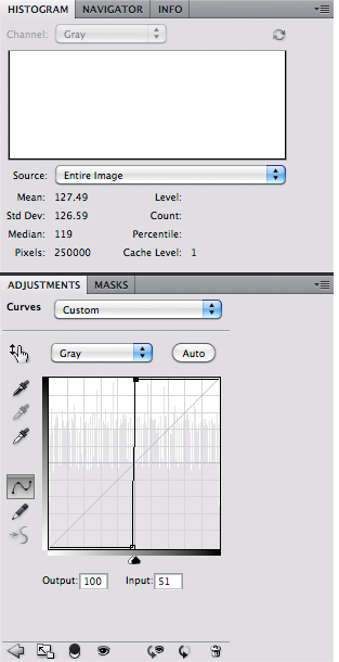 Grayscale with maximum curves contrast - histogram