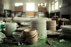 nourish. (jonathancastellino) Tags: colour detail abandoned mi america project table decay michigan library detroit stack cups plates teacup derelict pyrex saucers arranged arrange nourish americanunwilderness