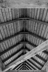 under the roof (joeranm) Tags: nikon nikond600 d600 fx sigma 24mm 2414 primelens wood wideanglelenses roof bw abstract