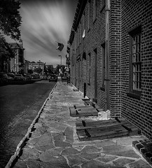 Historic St. Charles (Adam Fallwell) Tags: st charles missouri old buildings historic history 1850 urban street stone sidewalk cellar black white main canon