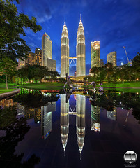The Jewels | Kuala Lumpur City Centre (kenneth chin) Tags: verticalpanorama blue wilayahpersekutuan architecture tasiksimfoni petronastwintower cityscape digitalblending nikon d810 nikkor1424 yahoo google malaysia kualalumpur klcc city park reflection