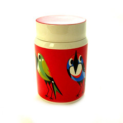 Mid-century ceramic bird jar (Wooden donkey) Tags: red bird century vintage ceramic storage retro jar mid