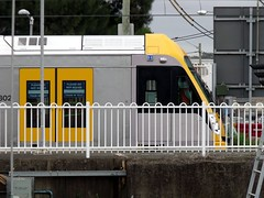 Waratah in test [2] (FlashFlyGuy) Tags: station train aircraft sydney railway australia railwaystation nsw airbus newsouthwales waratah garuda sydenham airbusa330