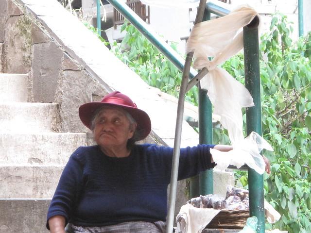 the nut lady in aguas calientes peru