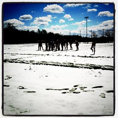 Rugby in the snow. Yes, it's April.