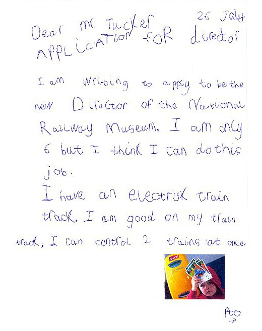 How to write an application letter 6 year old