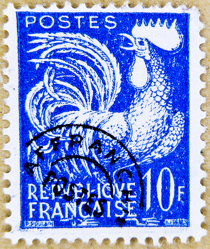 french stamp France 10 f chicken cock rooster postage poste timbre Republique Francaise selo francobolli Francia