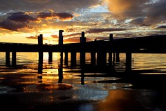 Jetty (pominoz) Tags: sunset lake reflection clouds pier belmont jetty wharf nsw lakemacquarie squidsink