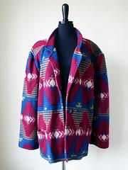 Navajo print (kitschcafe) Tags: blue ohio red fashion modern vintage fun cool midwest burgundy hipster drew kitsch womens jacket thrift etsy navajo blazer bohemian southwestern womensfashion dreworama navajoprint kitschcafe dreworamacom kitschwear