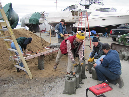volunteers making sandbags at the Westport, Marina, April 18, 2011