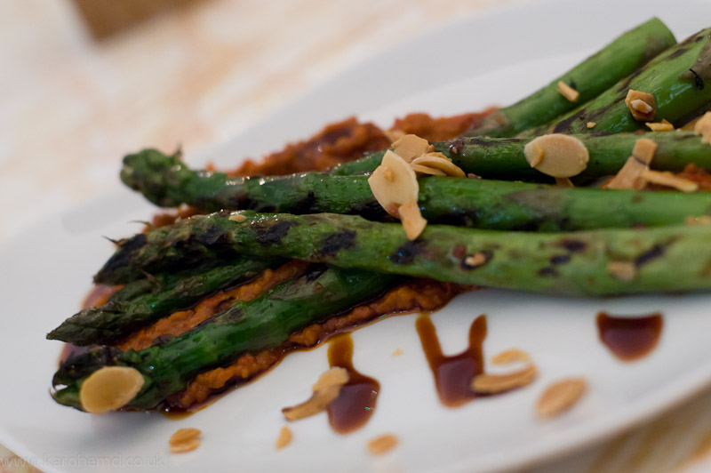 NOPI - Asparagus with romesco
