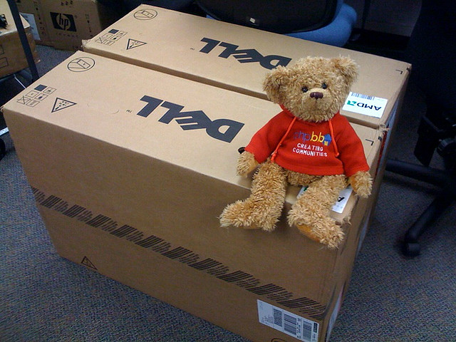 phpBB Mascot sitting on Dell Servers