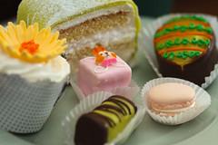 Sweedish bakery goods (DAstaroth) Tags: flower bunny cake dessert egg cupcake marzipan macaron petitfour