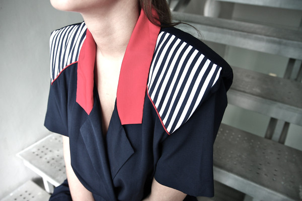 1980s nautical romper with thick shoulder pads