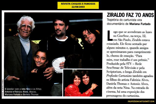 """""""Ziraldo faz 70 anos"""" - Revista Chiques e Famosos - 22/08/2003"""