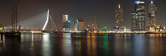 Kop van Zuid -  Rotterdam (DolliaSH) Tags: city longexposure light urban panorama haven holland color water colors architecture night canon reflections river photography lights noche photo rotterdam topf50 europe foto nightshot photos nacht harbour nederland thenetherlands le van maas nuit hotelnewyork notte stad erasmusbrug laspalmas noch zuidholland 1755 nieuwemaas southholland 50d nachtopname manhattanaandemaas canonefs1755mmf28isusm canoneos50d dollia dollias sheombar dolliash montevideowilhelminapleinkop zuidkpnmaastoren