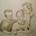 dibujito.Cachengue, José y Berny, tomando vino como always