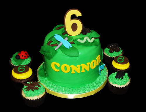 insect themed 6th birthday cupcake tower cake and cupcakes