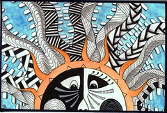 sun postcard 1 (Jo in NZ) Tags: sun zentangle nzjo zendoodlepostcard