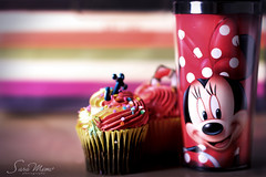Color My Morning (SaRa Meow  .. / @sosoMeow) Tags: life morning pink light red sun cute love coffee colors smile cupcakes sweet bokeh chocolate disney mug minniemouse
