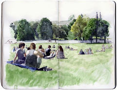 One day of summer (Wil Freeborn) Tags: park moleskine glasgow journal sketchbook kelvingrove