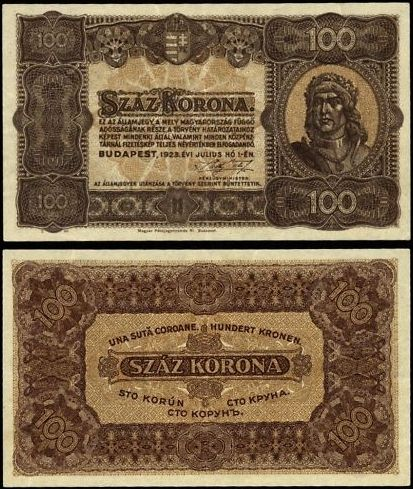 100 Korona Maďarsko 1923, P73