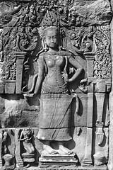 Stone carving of a 'Devata' at Angkor, Cambodia (Scott Mundy) Tags: slr film stone analog canon cambodia carving scanned analogue angkor digitized basrelief eos300 digitised devata