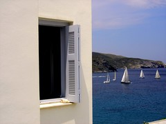 LIBERTY, behind the window, SAILing competition 2011 (dimitra_milaiou) Tags: sailing sea blue andros greece   white cyclades hellas hellenic chora hora horaandros island life people sky summer view aigaio aegean window world sports summertime swimming day europe kyklades port paint painting art dimitra milaiou    parallel lines dscp93a sony living 1 one  split