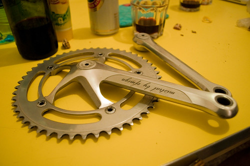 Ofmega mistral ultra rare track crankset in my kitchen by Benvenga analog solution