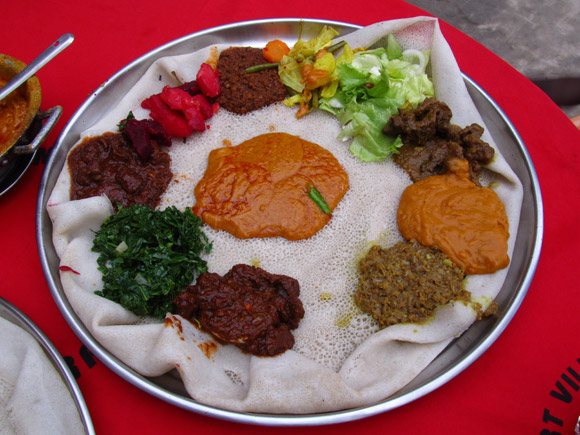 Communal plate of Ethiopian Food