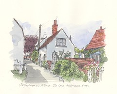 "Line and Wash Illustration of Cottages - West Mersea, Essex • <a style=""font-size:0.8em;"" href=""http://www.flickr.com/photos/64357681@N04/5865731105/"" target=""_blank"">View on Flickr</a>"
