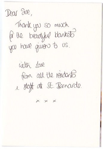 The inside of the Thank You Card from St. Bernards.