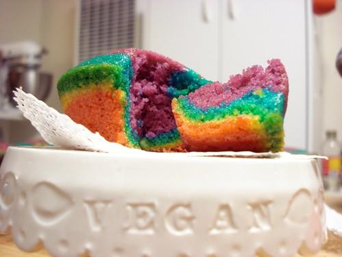 vegan rainbow cupcake