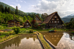 Constructed Like Hands in Prayer (arcreyes [-ratamahatta-]) Tags: travel trees summer green beautiful grass japan reflections landscape cloudy traditional scenic unescoworldheritagesite toyama lovely hdr shirakawago farmhouses 3xp ogimachivillage agustinrafaelreyes