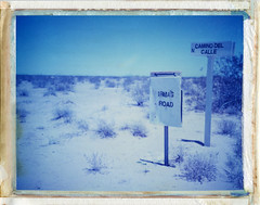 Dateland, AZ (moominsean) Tags: blue summer arizona polaroid desert nowhere heat 190 dateland type108 expired012000 irmasroad