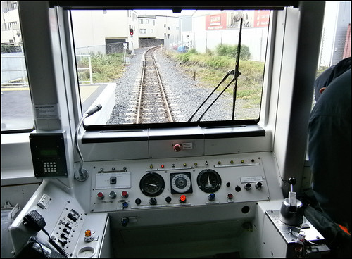 Inside a train on the Auckland Train Network, from Onehunga to Britomart