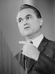black and white photo of George Wallace wagging his finger